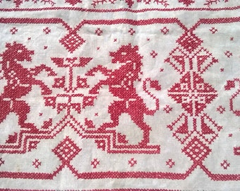 Antique French Heraldic Church Altar Top Piece Linen Red Combatant Lions Blazon Cross Stitch Crucifix Runner Lace Trim #SophieLadyDeParis