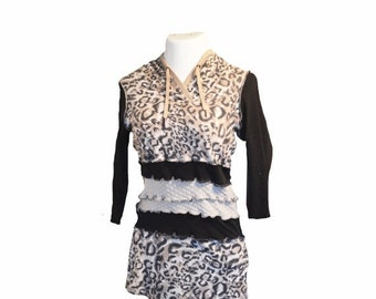 Anniversary Upcycled Women's Dress S/M Cotton Summer Fall Leopard Print Cotton Stretchy Hooded