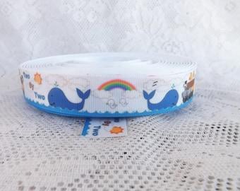 Noahs Ark ribbon 7/8 inch Bible Story ribbon Noah's ark polyester 7/8 ribbon