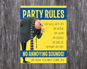 INSTANT DOWNLOAD: Minion Party Rule Printable (Print at Home)