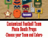 Custom Football Photo Booth Props and Party Decorations  - Printable - Choose Your Favorite Team and Colors