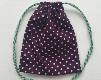 Purple dot drawstring accessory bag
