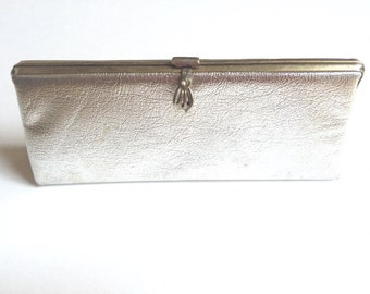 Vintage silver clutch handbag from the 60's