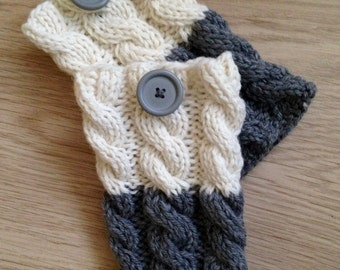 Knitted Boot cuffs Ivory and Grey Knit Boot Cuffs Leg Warmers Boot Toppers Knit Boot Socks Ready to ship