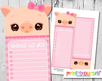 Pig To Do List - To Do List - Kawaii To Do List - To Do List - Pink - Cute - Printable To Do List - Stationery - Instant Download