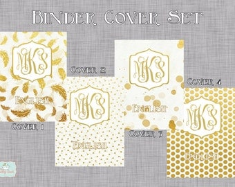 Gold Foil Personalized Binder Cover Set