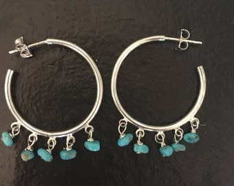Genuine turquoise chandelier earrings