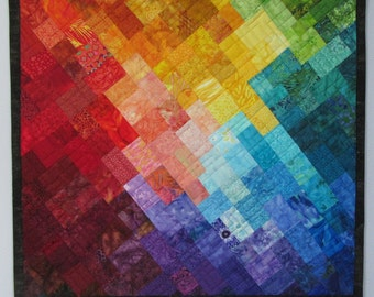 Art Quilt Multi Mosaic 9, Colorful wall quilt, Rainbow art quilt, fiber arts