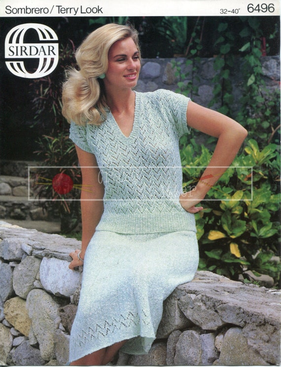 """Lady's Summer Top and Skirt 32-40"""" 4-ply Sirdar 6496 Vintage Knitting Pattern PDF instant download"""
