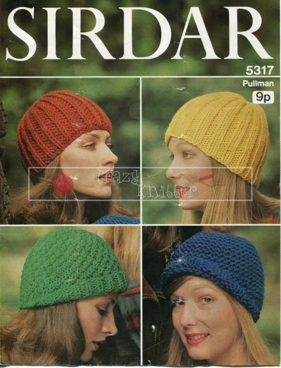 Lady's Caps Super Chunky Sirdar 5317 Vintage Knitting Pattern PDF instant download