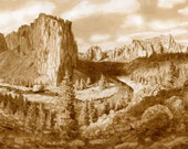 beer art, Smith Rock Panorama, Oregon, painted using only beer, Bend, Smith Rock, climbing, outdoorsy, rock, river
