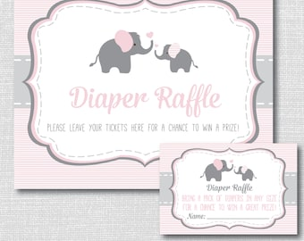 Pink Elephant Diaper Raffle Ticket - Girl Elephant Baby Shower - Diaper Raffle Party Sign and Ticket - INSTANT DOWNLOAD