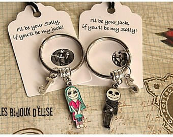 Set of 2 Personalized Boy and Girl Couple Keychains Skeleton Couple Keychains His and Hers Keychains Valentine Keychains