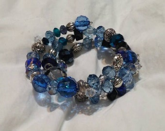 On Sale Bright and Light Blue  and Silver Toned Beaded Stretchable Memory. Wire Layered Bracelet Costume Jewelry Fashion Accessory