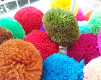 Get 20 pcs of Hmong Tribe yarn BIG Pom Pom Assorted color, handmade charm Traditional Tribal supplies (Code PM0001)