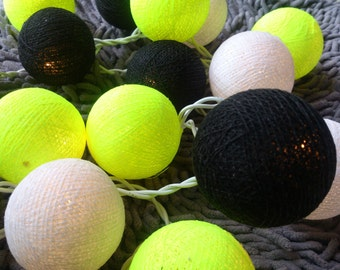 Black Lemon Cotton Ball Lights for Chirtsmas and  for home decoration,wedding patio,indoor string lights,bedroom fairy lights,20 Bulbs