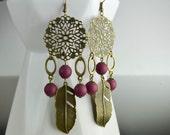 Earrings style dreamcatcher- applies bronze - feathers - boho style - bohemian