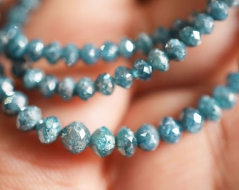 47 ct -  Spectacular RARE Teal Blue DIAMOND Faceted Rondelle Beads -3.40-4.60 mm, Blue Diamond 15 inch Strand