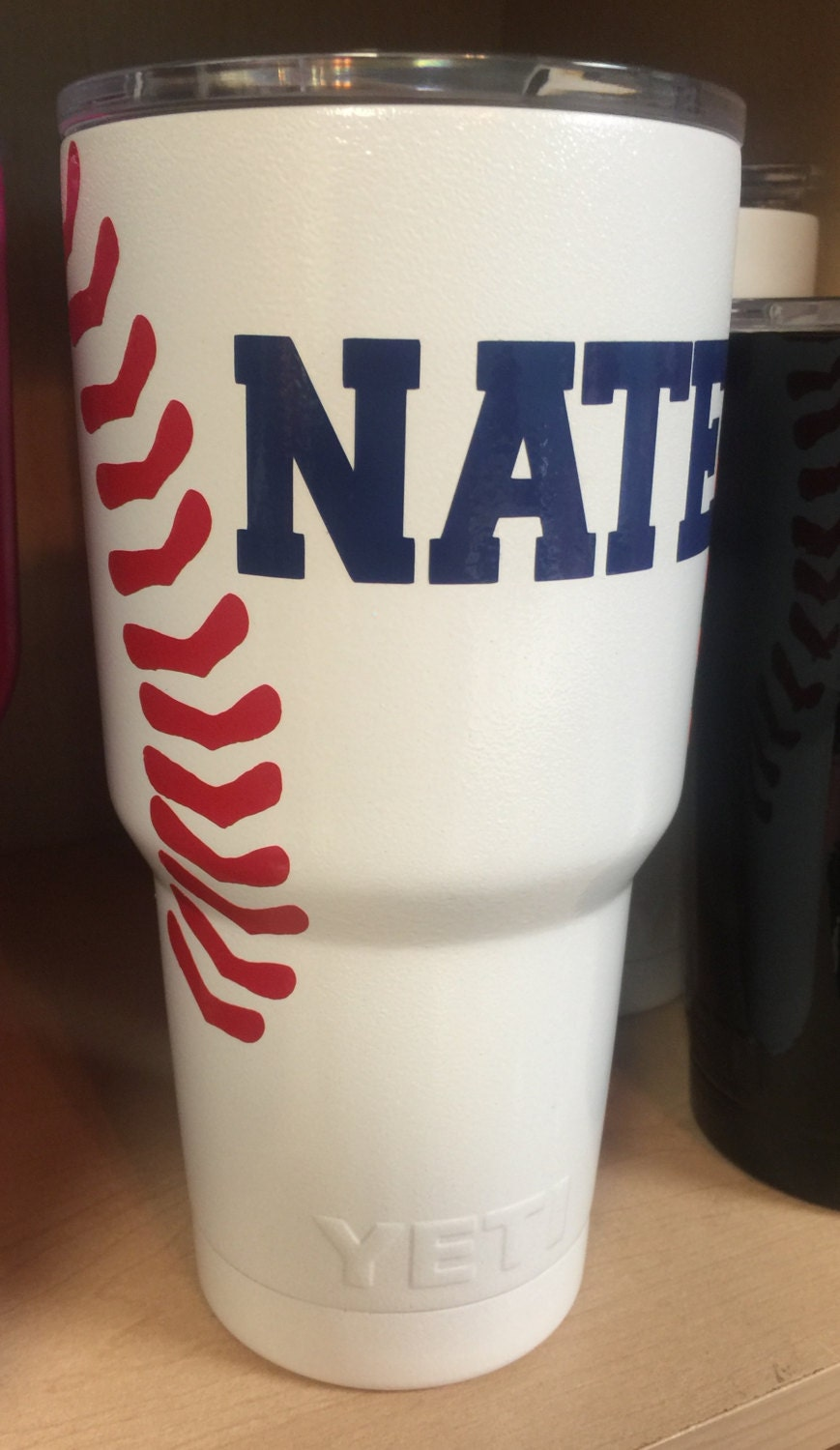 Baseball Personalized Yeti Tumbler With Laces And Name