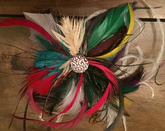 multi color feather fascinator hair clip