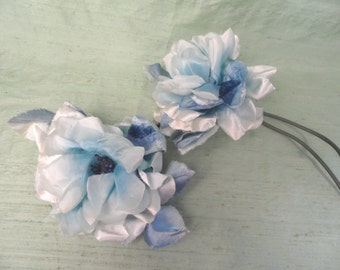 Two shabby blue ombre silk flower stems / vintage millinery hat flower trim spray