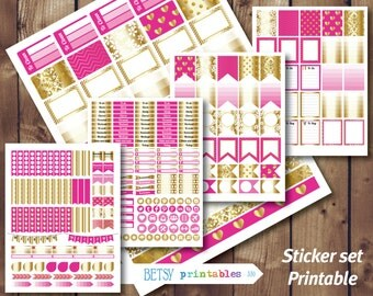 Pink and Gold Printable planner stickers Erin Condren Printable Stickers, printable stickers, Gold stickers set, Weekly set -  330