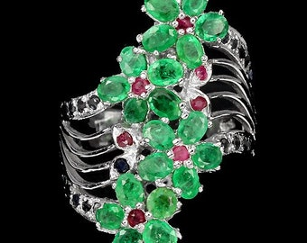 3.40ct Emerald, Ruby, Sapphire Sterling Silver Flower Ring Size 8