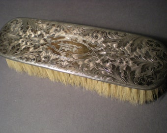 Silver Plated Antique Clothes Brush Turn of 19th Century Boar Bristle Brush Monogramed
