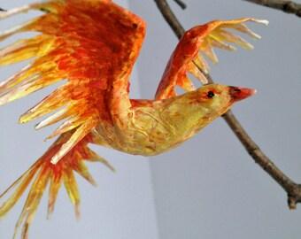 Paper Mache Phoenix Ornament