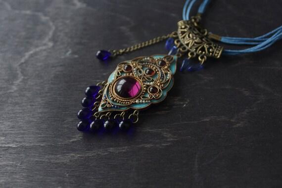 Blue ethnic pendant, tibetan necklace, Indian necklace, boho necklace