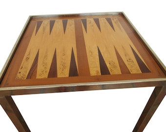 Brass Game Table Hollywood Regency Burlwood Chess Backgammon Checkers
