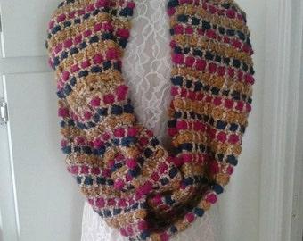 SALE/Scarf/Infinity/Hand Made/Crochet/Multi Colored/Chunky/One of a Kind Yarn