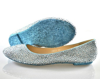 Custom Ice Powder Blue glitter sole & Silver swarovski crystal wedding bridal Low Heel Ballerina Flat closed Pump