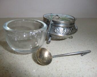 Russian vintage melhior hallmark open salt cellar, used
