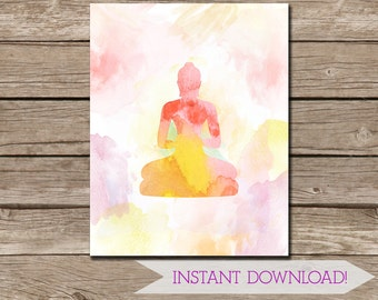 Pastel Watercolor Buddha Wall Art 11x14 inches - DIGITAL DOWNLOAD - Buddha Poster - Printable Art - Buddhist - Meditation Wall Hanging