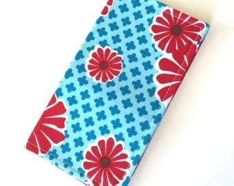Fabric Checkbook Cover- Wallet, Coupon Holder- Red and Blue Flowers Pattern