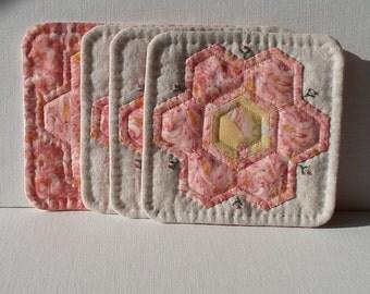 Handmade Mug Mats Linen & Cotton Pink Hexagon Coasters      set of 4
