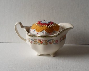 Handmade Pincushion Felted Wool Gold Floral in a 30s Johnson Bros China Creamer