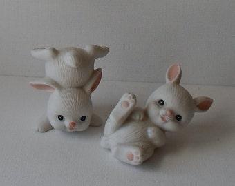 Vintage Homco Bunnies Porcelain Easter Figurines