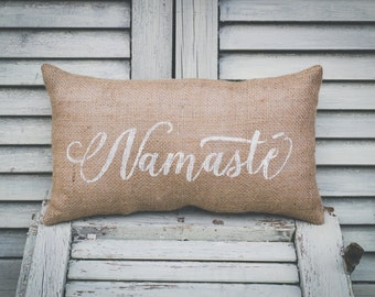 Namaste Pillow Home Decor Pillow Decorative Pillow Yoga Pillow Yogi burlap pillow fabric pillow 14x9 accent pillow