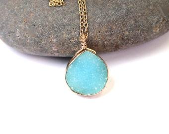 Druzy necklace - gold bezel druzy - raw crystal necklace - a sky blue druzy wire wrapped onto a 14k gold vermeil chain
