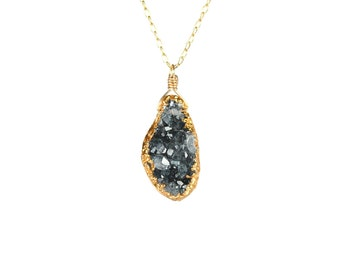 Gold druzy necklace - druzy necklace - raw crystal necklace - black crystal necklace - A gold lined druzy on a 14k gold vermeil chain