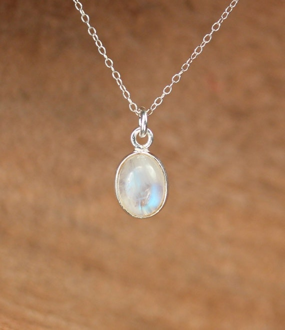 Silver moonstone necklace - june birthstone jewelry - blue flash - a silver bezel set rainbow moonstone on a sterling silver chain