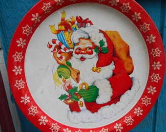 "Vintage Christmas Santa metal tray snowflake border 13"" round Made in Hong Kong"