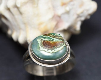 Gem Silica and sterling silver ring Size 11 One of a kind handmade ring