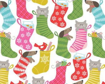 2016 Pre-Order, Stocking Stuffers White, Even A Mouse, Fabric Yard by Maude Asbury for Blend Fabrics, Christmas, 101.124.01.2