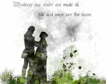 Wuthering Heights Quote ART PRINT illustration, Emily Bronte, Wall Art, Home Decor
