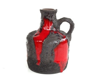 Marei vase west german pottery FAT LAVA 4300 retro mid century modern ceramic red black bottle handled vase modernist roth