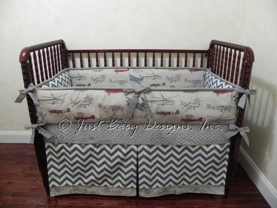 Custom airplane crib bedding set anson boy baby bedding - Airplane crib bedding sets ...