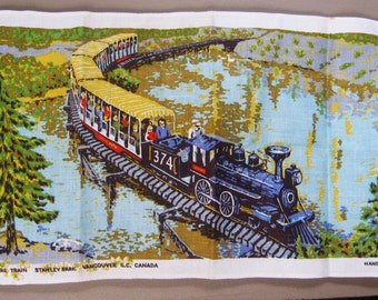 Vintage Souvenir Miniature Train Stanley Park tea Towel Vancouver Island Canada Linen British Columbia Hand Printed Retro Locomotive Kitchen